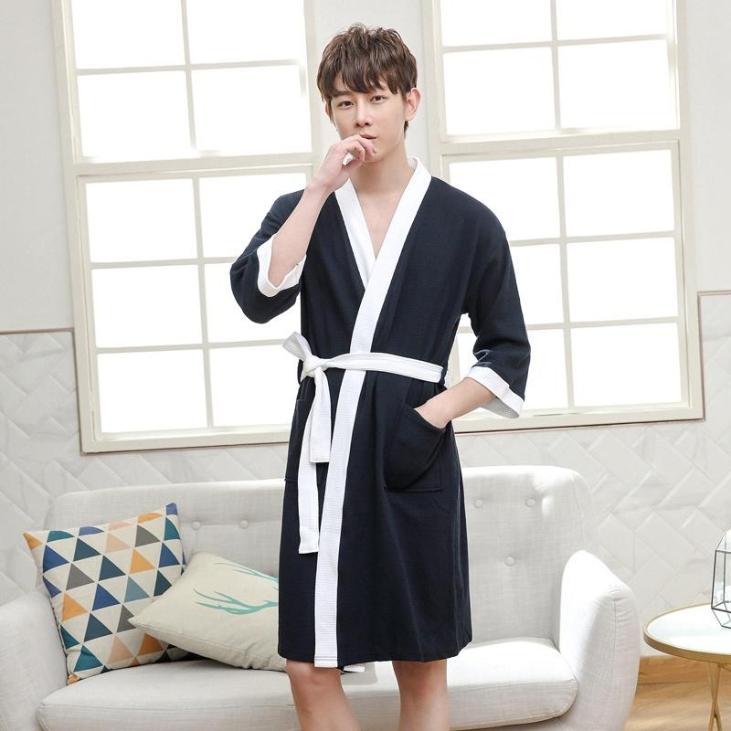 2019 Spring Cotton Bathrobes Men Kimono Robes Female Casual Simple Bathrobe Male Long Sleeve V-neck Collar Home Robes With Belt To Be Distributed All Over The World Robes Men's Sleep & Lounge