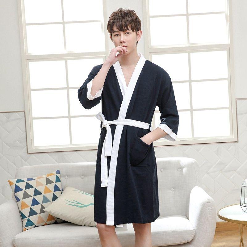 2019 Men Bathrobe Kimono Robe Long Warm Cotton Bathrobe Men Super Soft  Cotton Kimono Bath Robe Male Dressing Gown Mens Robes Summer From Michalle 75fe71d73