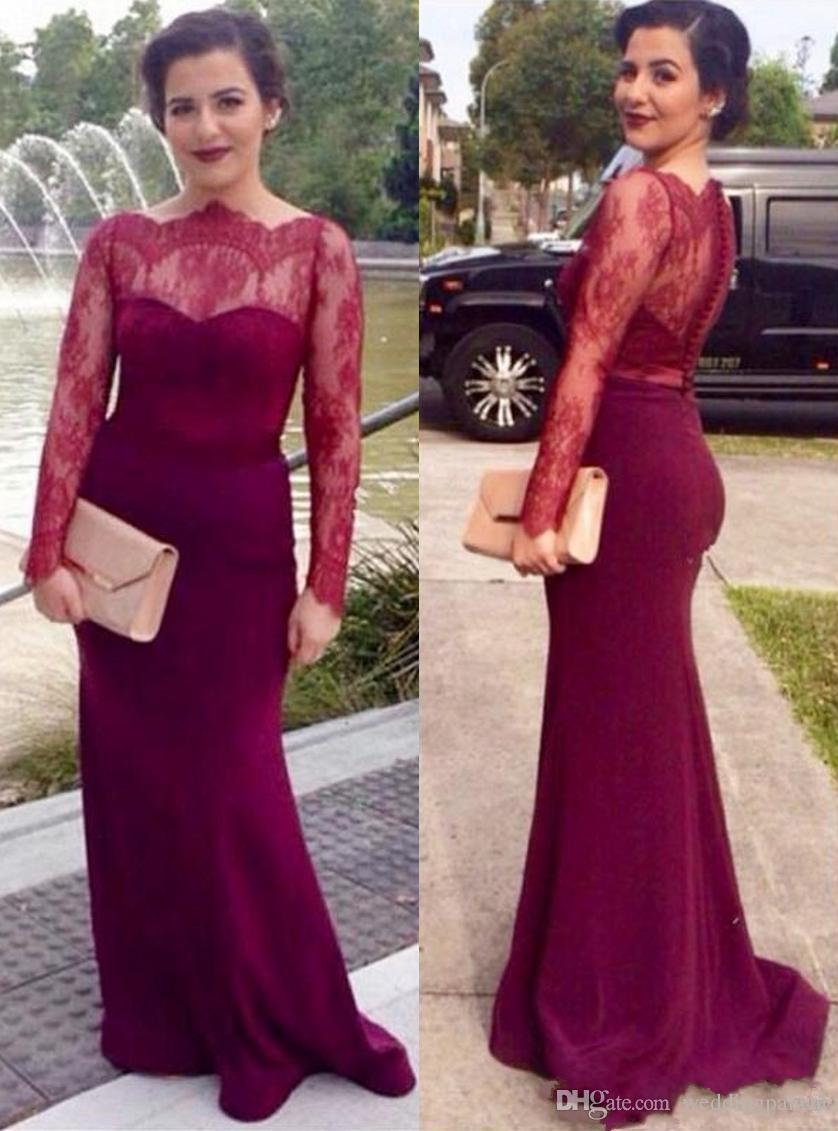 cf804771d1b Wine Red Long Sleeve Mother Of Bride Dresses Plus Size Boat Neck Lace Satin  Covered Button Mermaid Women Evening Formal Dresses Petite Mother Of The  Bride ...