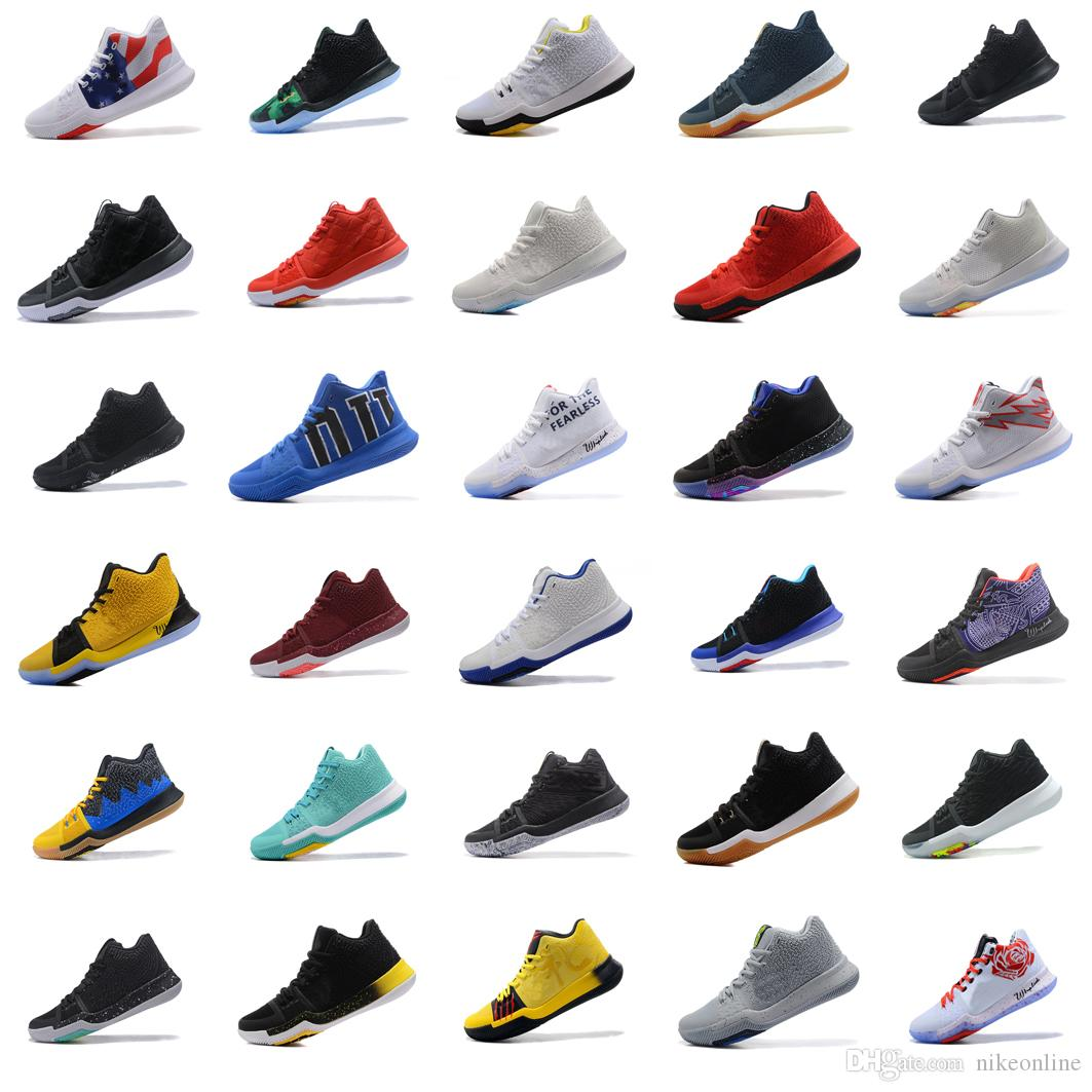 huge discount 642fa 84703 New Men Kyrie Irving 3s basketball shoes Cheap Black White Team Red Grey  Green Yellow Floral Blue Gold USA BHM Oreo sneakers tennis with box
