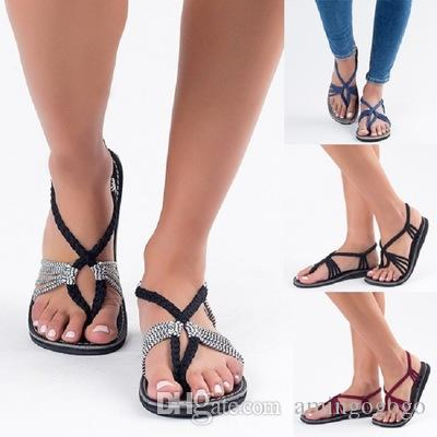 48ad3d38c Large Size Rope Knot Sandals 2018 Summer European And American Beach Shoes