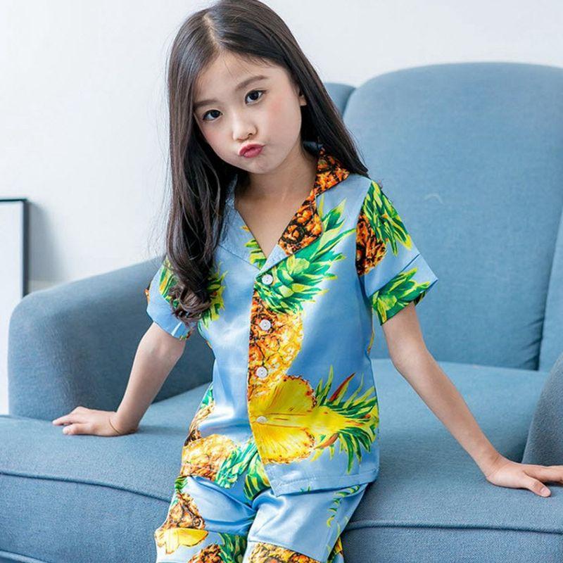 Kids Girls Floral Pajamas Pineapple Fruit Print Sleepwear Set 2018 New Bear  Pattern Home Wear Shirts Shorts Sets 3 10Y PJ23 Kids Christmas Pyjamas  Christmas ... 3e4dbbafc