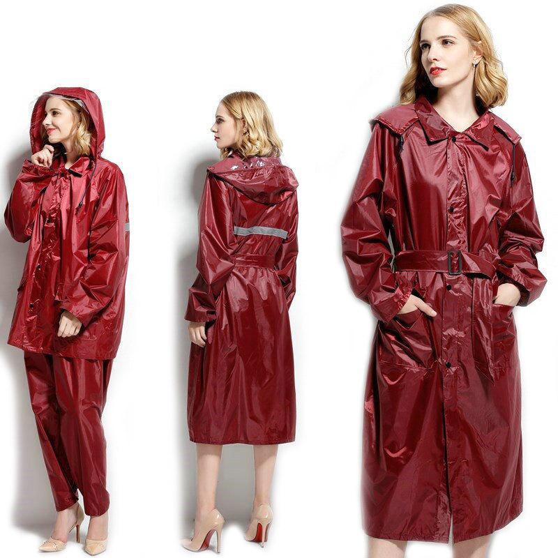 3423cafacd5 Compre Las Mujeres De Moda Y Hombres Impermeable Poncho Impermeable Trench  Coat Rain Coat Con Pantalones Conjunto Traje De Lluvia Dividida Al Aire  Libre ...