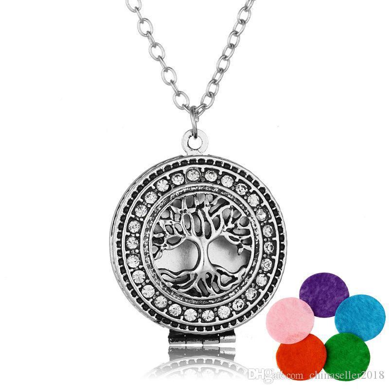 Новое прибытие Дерево жизни ароматерапия ожерелье Кристалл горный хрусталь медальон кулон эфирное масло диффузор ожерелья Для женщин ювелирные изделия