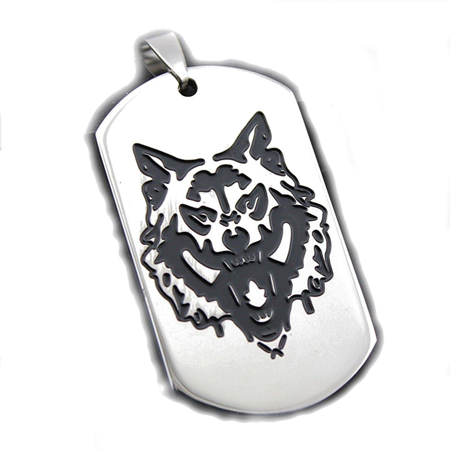 wolf silver men color steel pendants women dog circle product punk necklace for wholesale pendant necklaces tag chain head titanium beads jewelry
