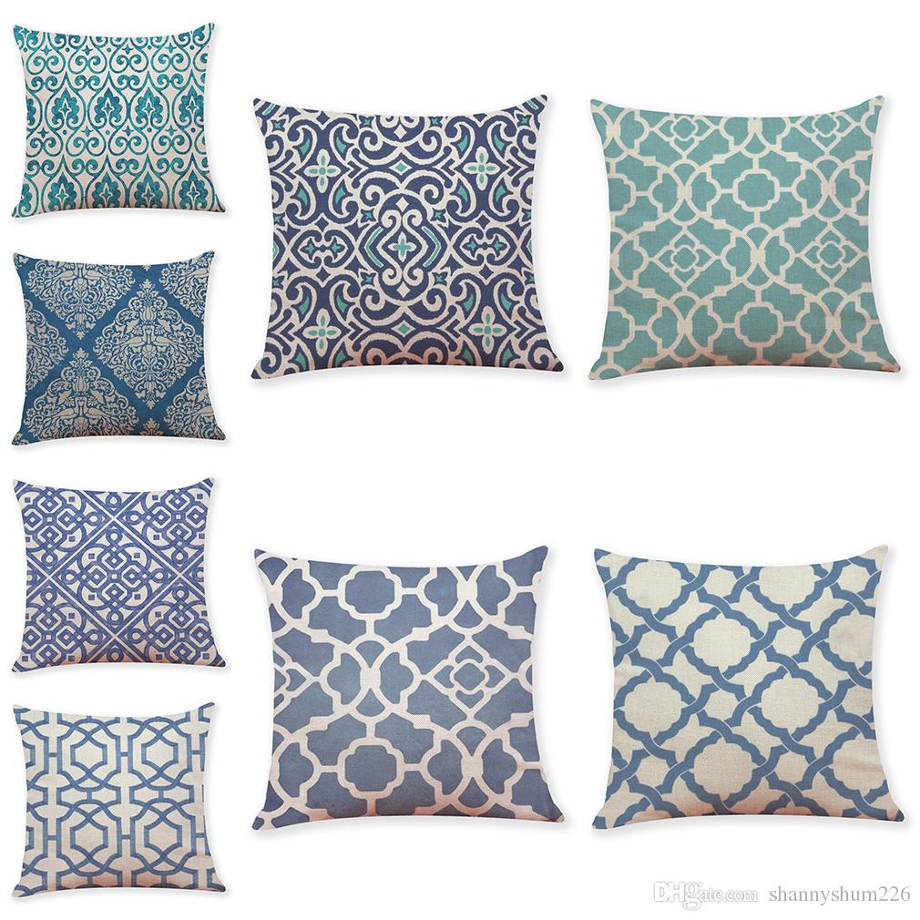 Chinese geometric pattern linen cushion covers home office sofa square pillow case decorative pillow covers without insert 1818inch outdoor high back chair