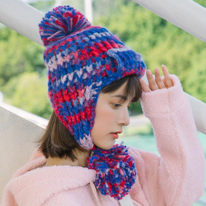 070c63d4449 Korean Women Knitted Bomber Hats With Balls Mix Color Earflap Ear ...