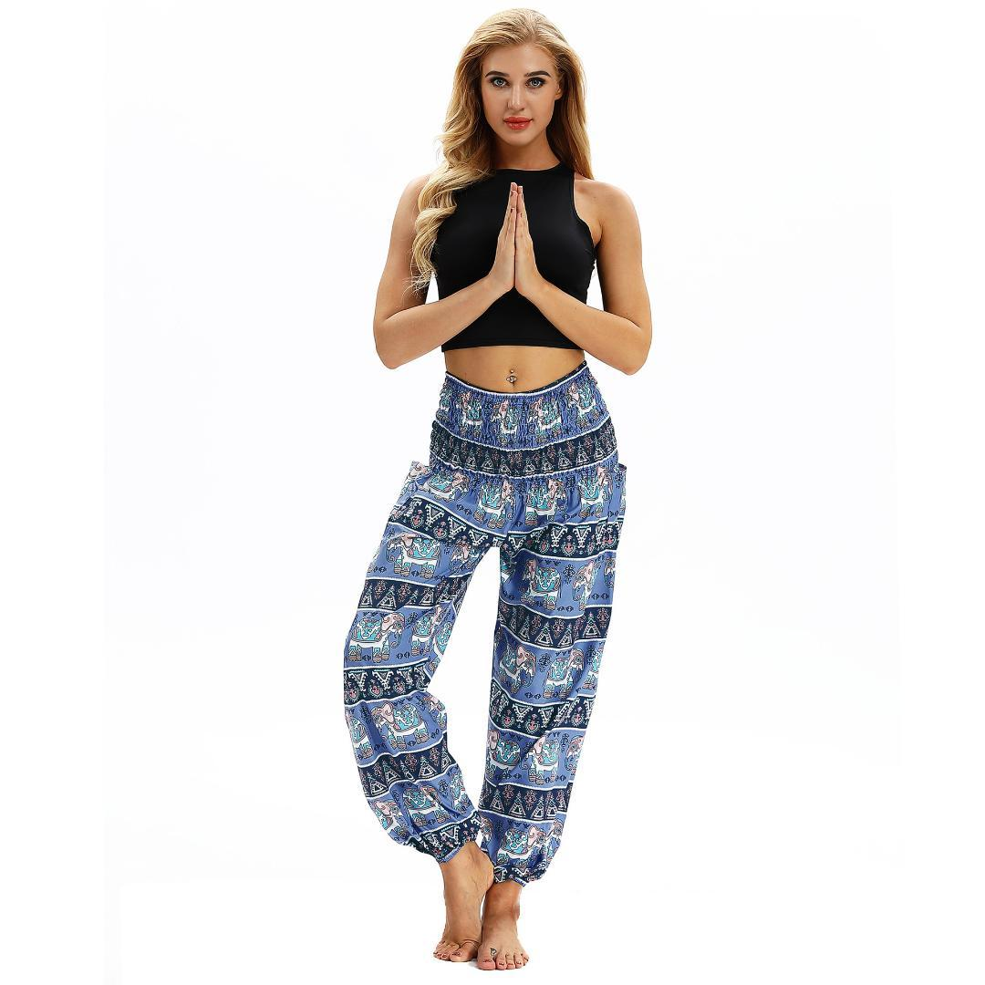 c62696626f470 2019 Yoga Pant Elephant Printed Loose Wide Leg Comfy Legging Travelling  Vacation Harem Trousers Baggy Bloomers Breathable Thai Style From Godefery,  ...