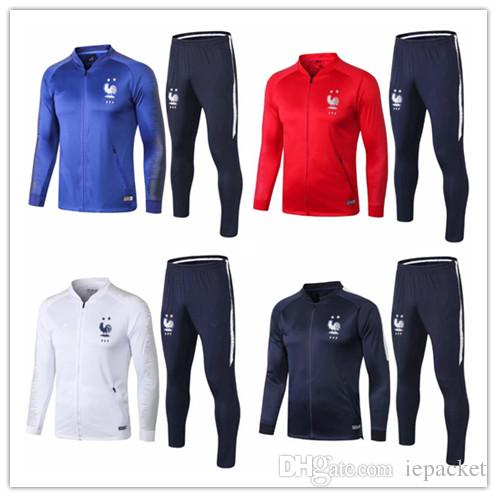 d9e8ba52c 2019 2018 World Cup Champion 2 Stars French Thailand GRIEZMANN MBAPPE POGBA  Blue White Long Sleeve Tracksuit 2019 National Team KANTE Suit Jacket From  ...