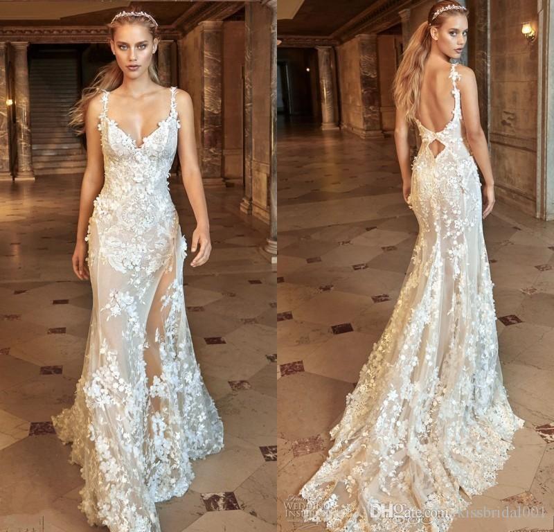 Vintage Full Lace Berta Wedding Dresses 3D Lace Floral