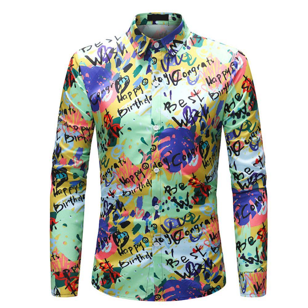 2018 Funny Male Graffiti Dress Shirt Men Slim Fit Hand Painted Social Shirts Long Sleeve High Quality Clothes 2018