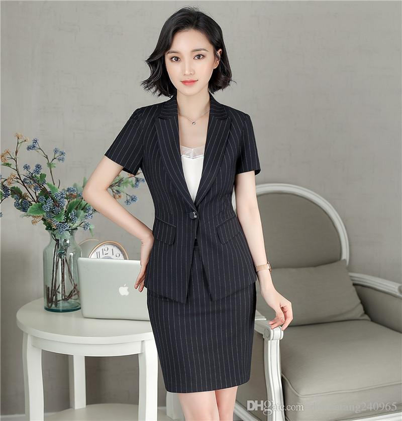 2019 2018 Summer New Fashion Style Elegant Office Uniform Designs Women  Womens Business Suits Female Ladies Blazer Skirt Suit From Donnatang240965 162acb521707