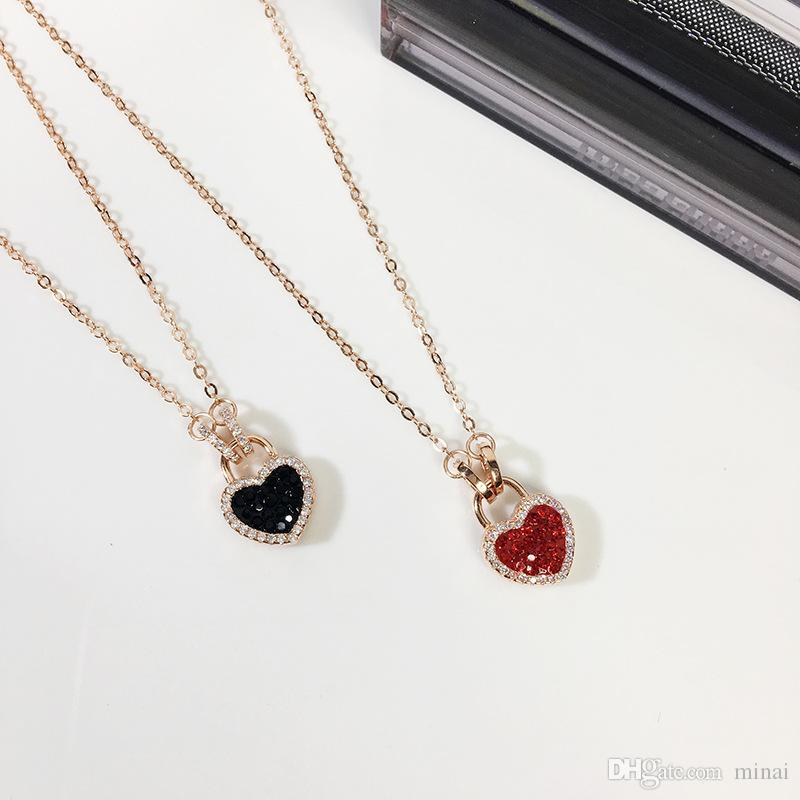 d13c092c5418e 925 Sterling Silver Cubic Zircon Love Heart Double-Sided Red Black Short  Clavicle Chain Necklaces For Girl To Gift