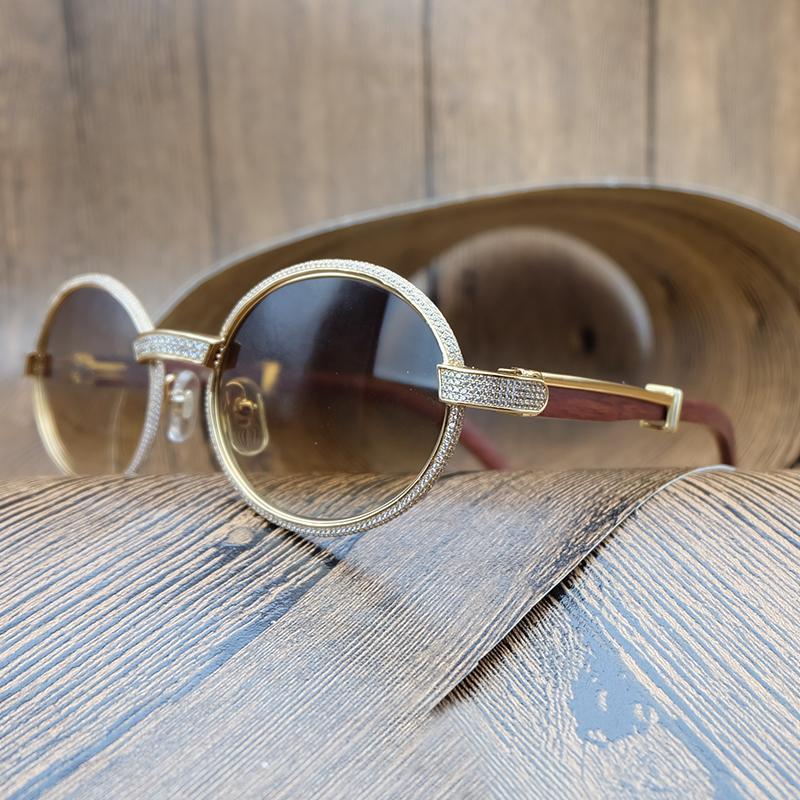 a3998f8f43 Compre Strass De Madeira Óculos De Sol Dos Homens Retro Óculos De Sol  Masculino Decoração De Madeira De Luxo Oval Óculos Shades Homens Eyewear  Diamante De ...