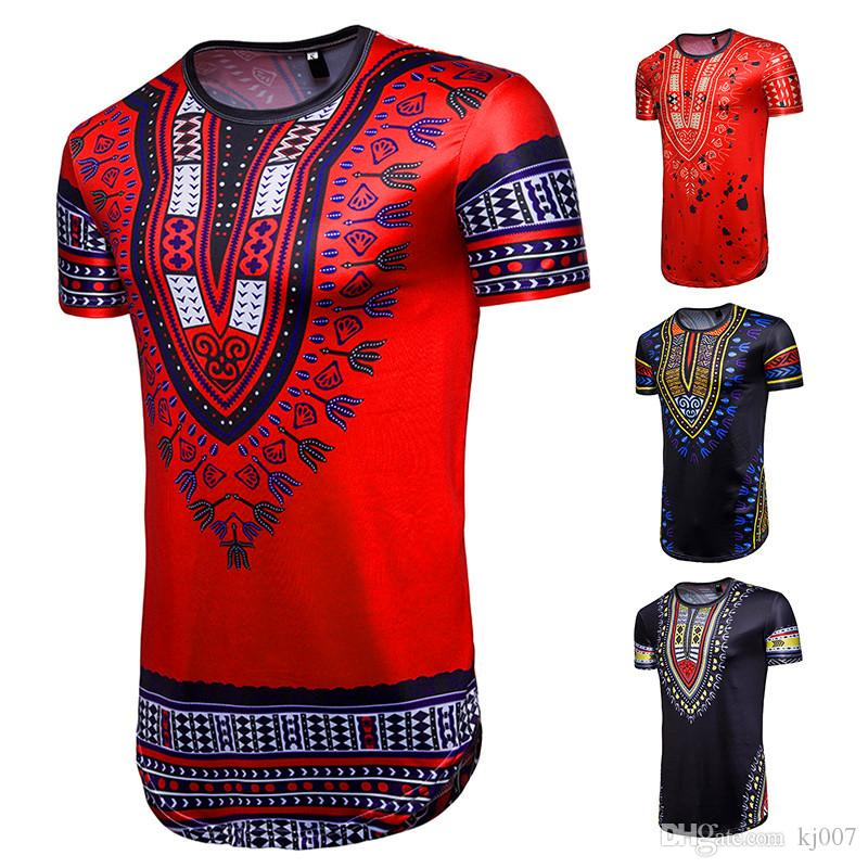 2b6f1c58b Africa Totem Print Bandana T-shirt Fashion Short Sleeve folk-custom  Geometric Shirt Men's Casual Hip-Hop Tops 2018 Hot Sale Man Clothing