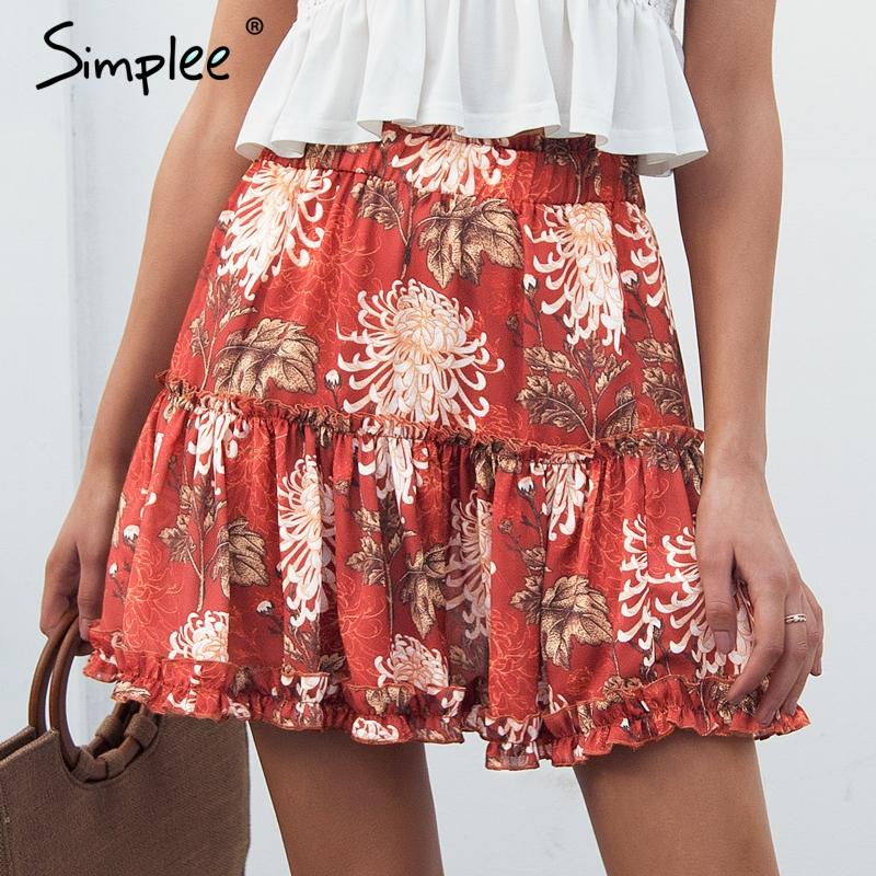3e5322c704 Simplee Boho Floral Print Mini Skirt Elastic Waist Tiered Ruffle ...