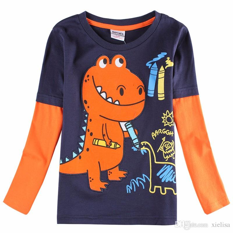 novatx A6501 2018 retail kids baby boys clothes long sleeve t-shirt spring autumn cool desgn in high quality t-shirt for boys