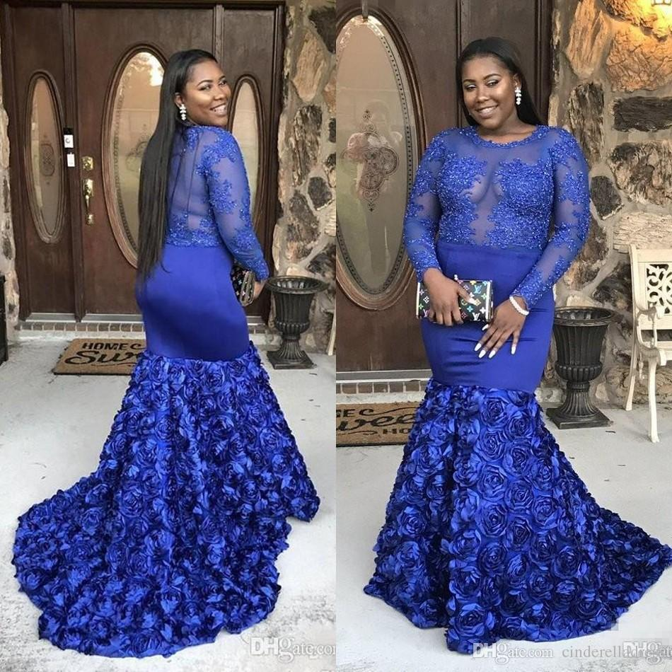 6c31af9b87b 2018 Plus Size Royal Blue Mermaid Prom Dresses African Sheer Long Sleeves  Lace Appliqued 3D Handmade Flowers Women Pageant Party Gowns Baby Blue Prom  ...