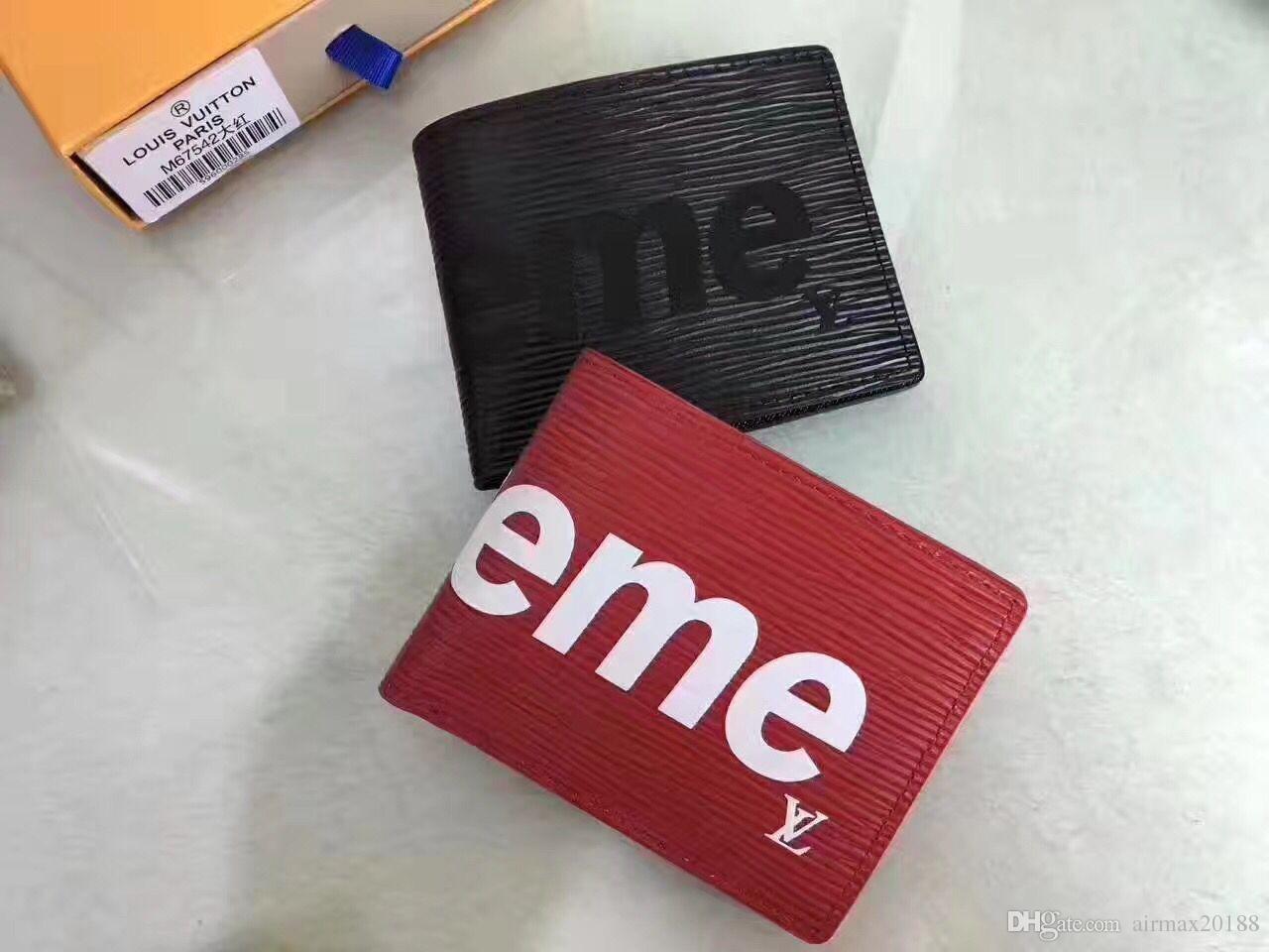 7e63e98c43aa97 LOUIS VUITTON X SUPREME Red Leather Wallet Women And Men Handbags Top  Quality Purse Brand Designer Card Holder Portefeuille Homme Tote LV Purses  Designer ...