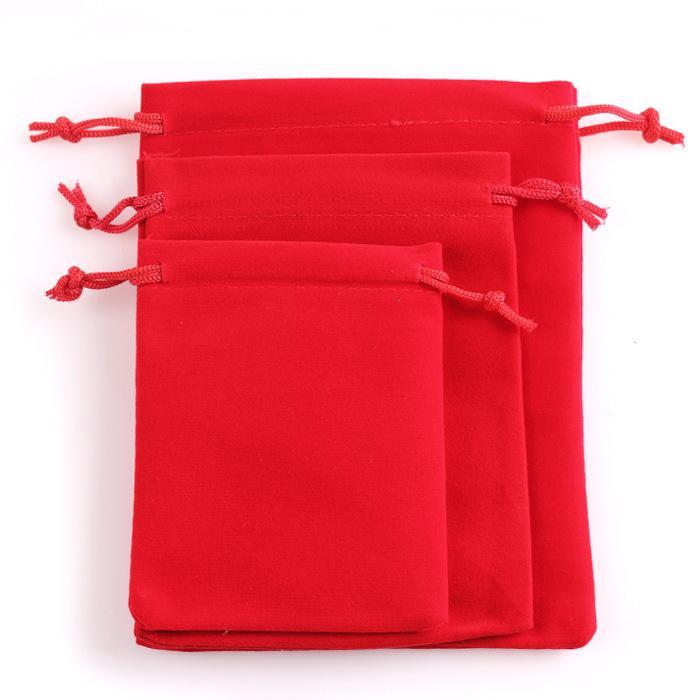 10 Adet Yüksek kalite Özel Takı Hediye Çanta Yumuşak Kadife Ambalaj İpli Noel Düğün Çanta Torbalar 3 boyutları
