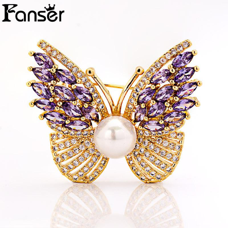 FANSER Shell Pearl Butterfly Brooch Beautiful CZ Micro pave Two color Fashion Jewelry Send to mother'gift High quality