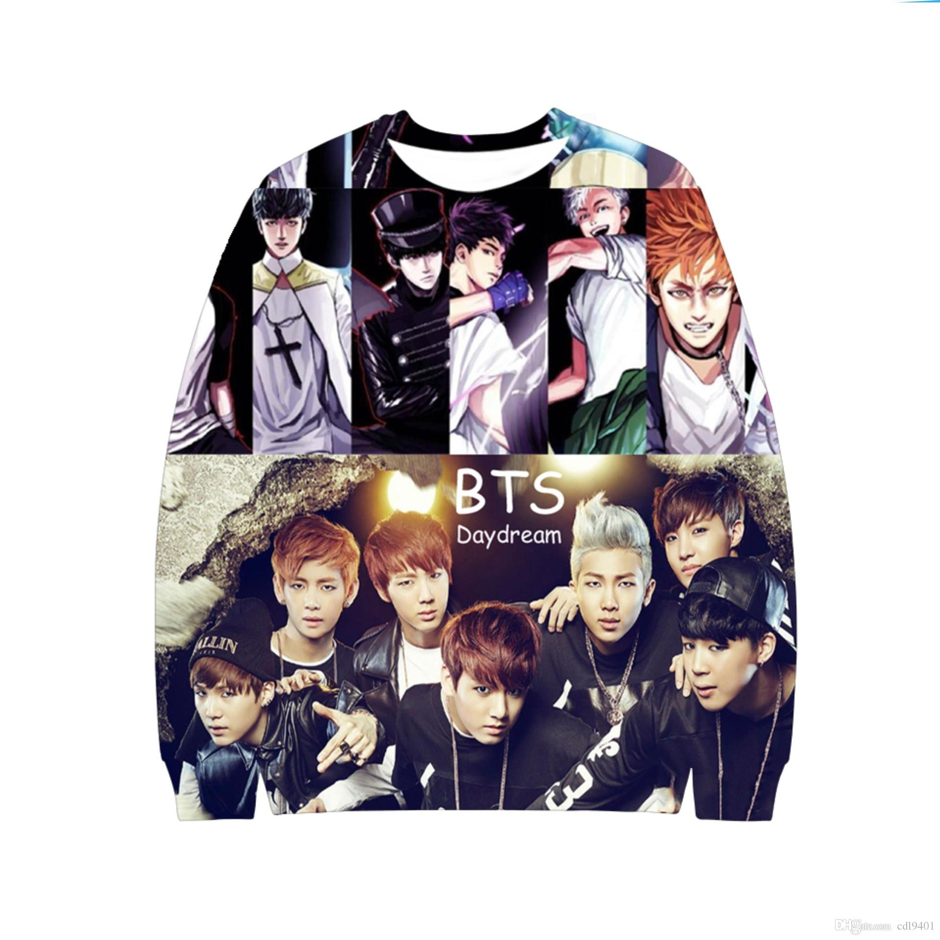 a025ad8ab0aa6 Fashion BTS Original 3D Printing Round Neck Loose Sweater Men And Women  2018 Hot New Funny T Shirts For Women Funny Shirt From Cdl9401