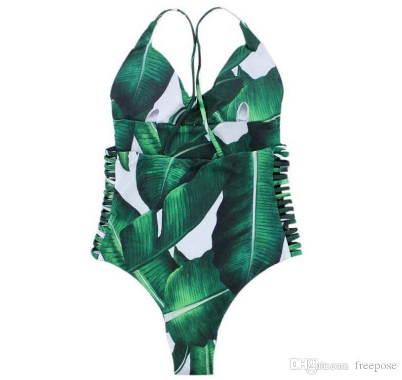 2018 Sexy Badeanzug Frauen Bademode Grün Blatt Bodysuit Bandage Ausgeschnitten Sommer Strand Badeanzug Monokini Badeanzug XL 5567921278