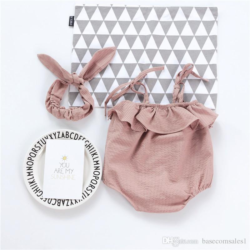 2018 Hot INS Infant Sleeveless Strapless Pure Cotton Triangle Jumpsuit for Newborn Baby Summer Clothing with Bunny Ears Headband