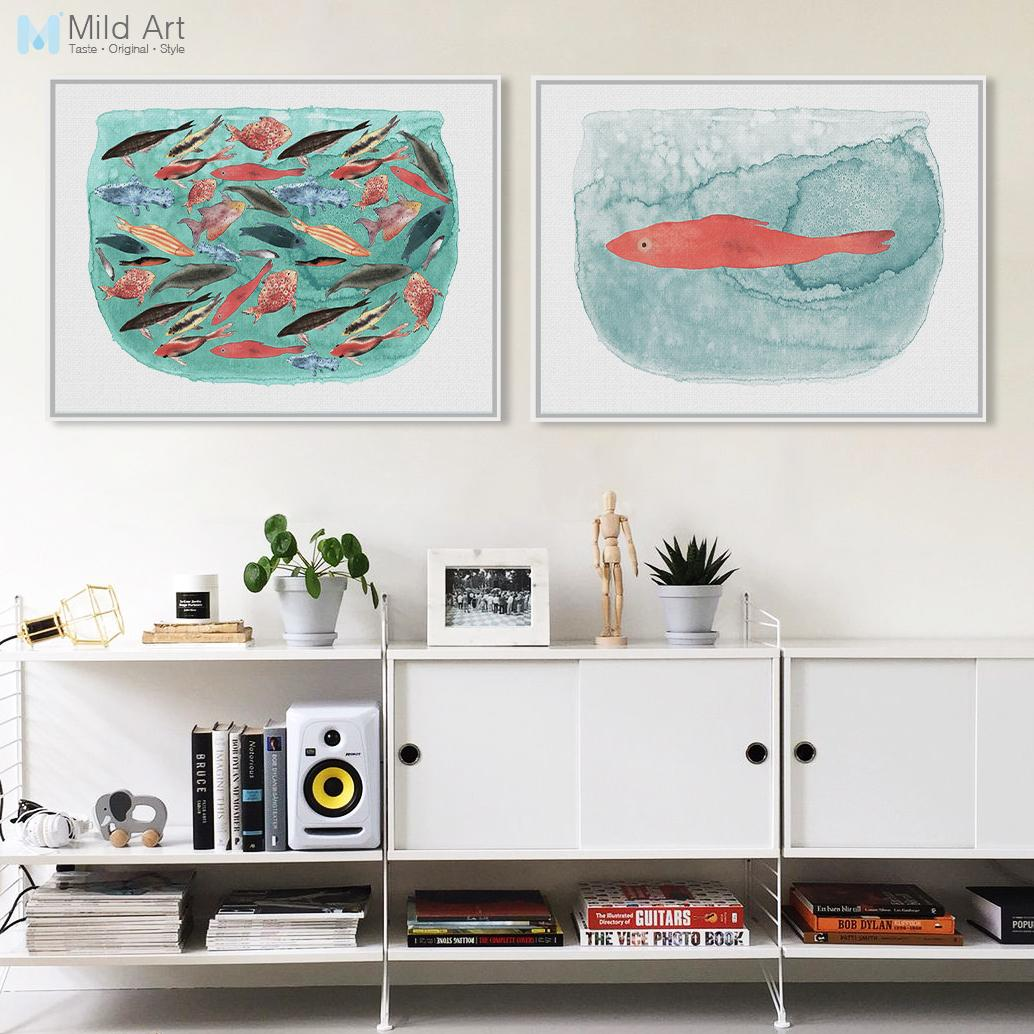 Best Watercolor Sea Fish Tank Art Prints Poster Cartoon Animal ...