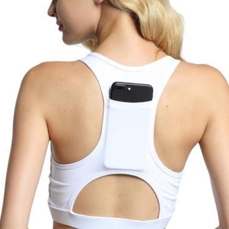 061cdb43db855 2019 Women Breathable Sports Bra With Phone Pocket Padded Yoga Bra Push Up  Sportswear Elastic Running Underwear Gym Sport Top From Kuaigoubian