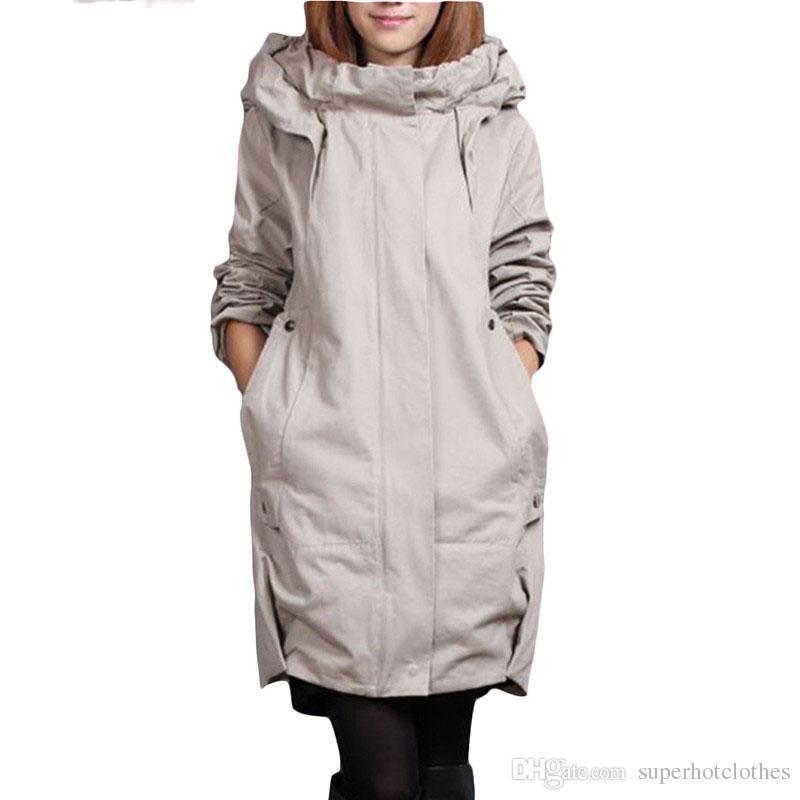 new product 6ca6e 3f822 Plus Size Windbreaker Mantel Frauen hinzufügen Baumwolle lose lange  Trenchcoats Damen koreanische beiläufige mit Kapuze Strickjacke graue Mäntel