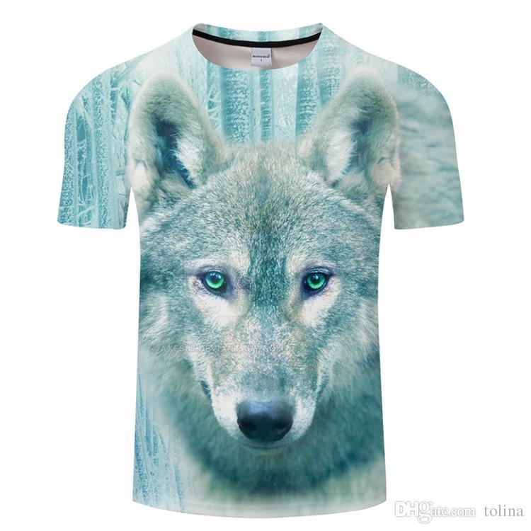 Compre 2018 Lo Nuevo Harajuku Wolf 3D Print Cool T Shirt Hombres   Mujeres  De Manga Corta Summer Tops Tees T Shirt Moda M 5XL TX060 A  11.69 Del  Tolina ... 9517eb041a163