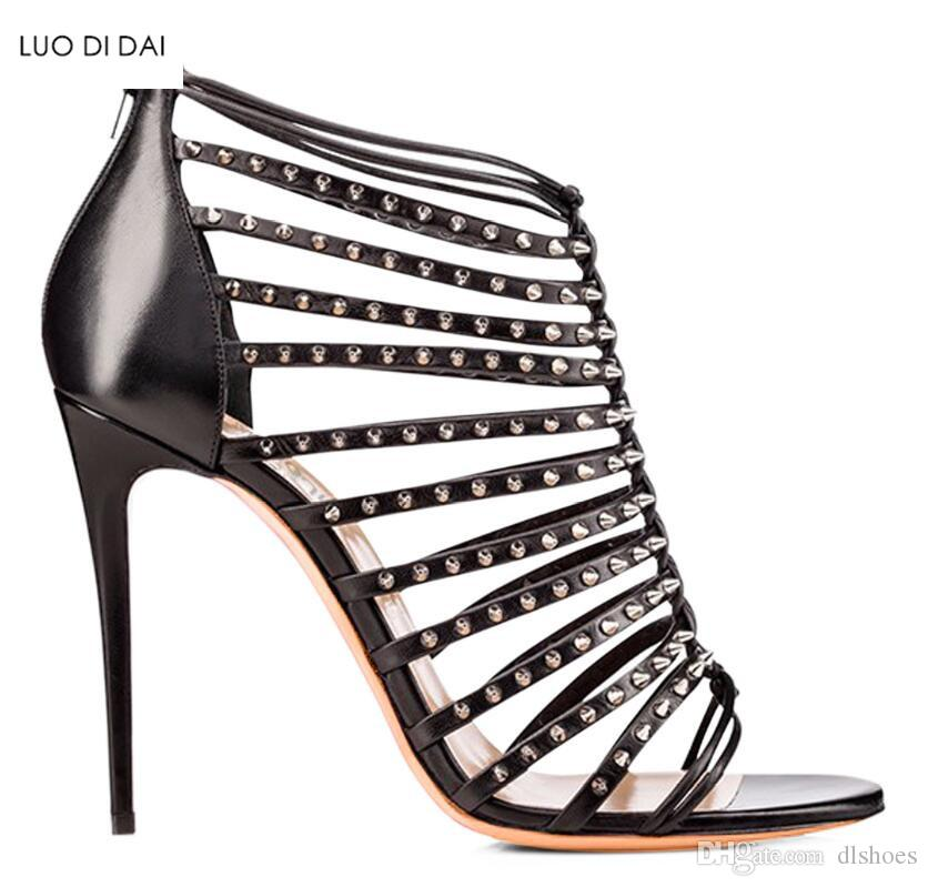 093e92fd8 2018 Fashion Women Open Toe Sandals Gold Rivets High Heels Party ...