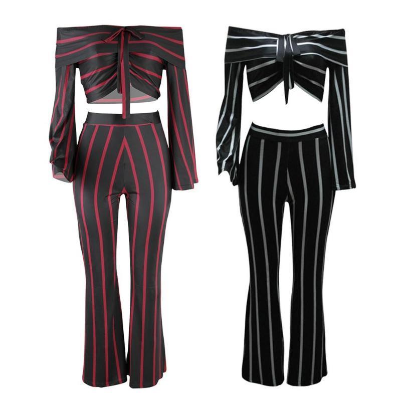 b692788ffb4da 2019 Fashion Slim Stripes Long Flare Sleeve Pants Slash Neck Elastic Women  High Waist Black Red Lace Up Party Lady Sexy Set From Ario