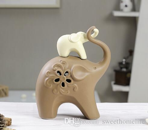Handicraft Porcelain Elephant Statue Minimalist Ceramic Creative Family  Lover Home Decor Crafts Room Decoration Animal Figurine Handicraft Porcelain  ...