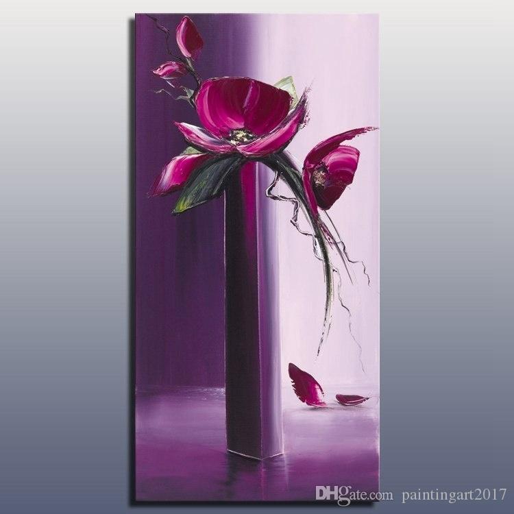 Compre Color Purpura Flor Decorativa Pintura Al Oleo Hecha A Mano