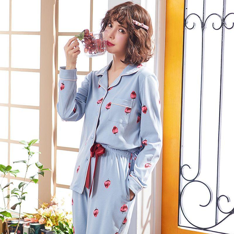 add204d877 Compre Moda Mujeres Pijamas Conjunto Ropa Para El Hogar Conjunto Otoño  Pijamas Damas Pijama Ropa De Dormir Linda Niña De Algodón De Manga Larga A   54.26 Del ...