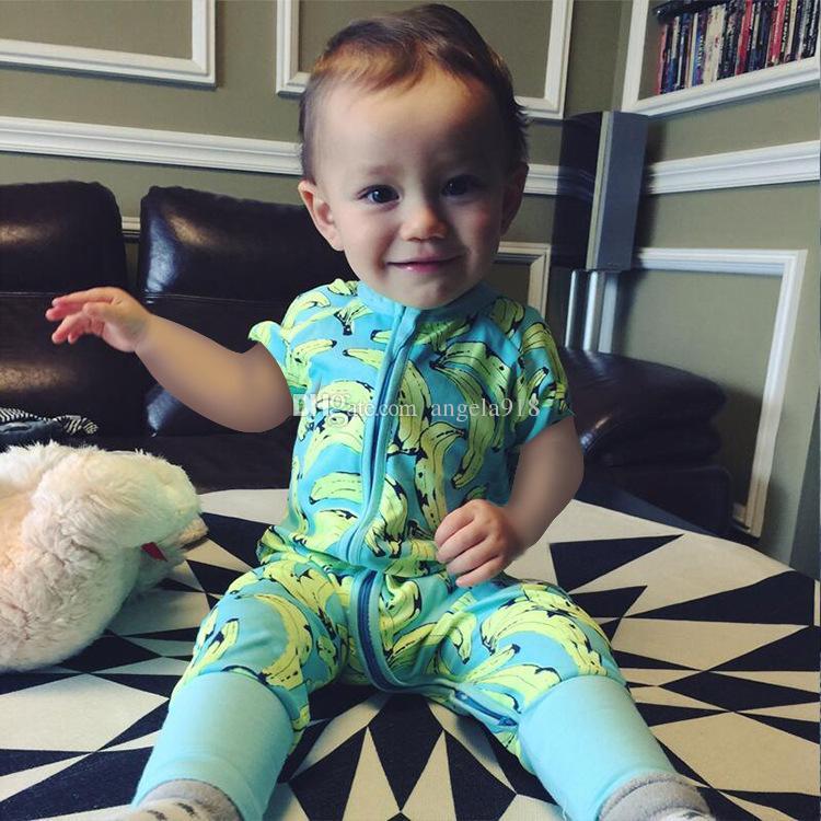 Ins venta caliente de dibujos animados ropa de bebé 0-2 años de edad bebé impreso overoles verano cuello redondo manga corta de algodón mameluco pasante H042