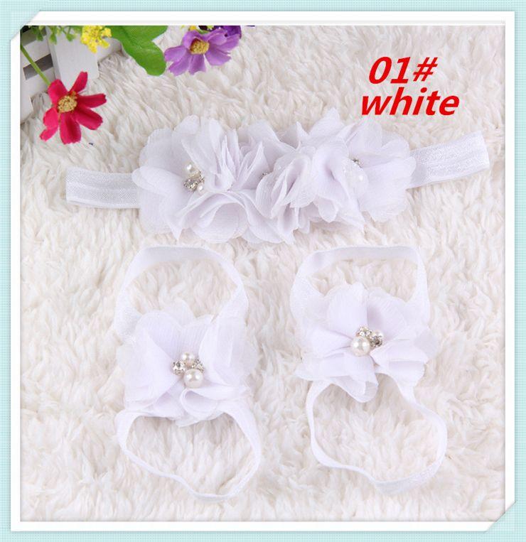 Fashion baby hand-sewn chiffon diamond head flower Headband Hair Accessories European and American baby wrist flower feet Hair Clips set5029