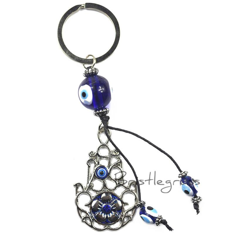 BRISTLEGRASS Turkish Blue Evil Eye Hamsa Hand Flower Keychain Car Key Chain Ring Holder Amulet Pendant Lucky Charm Blessing Gift