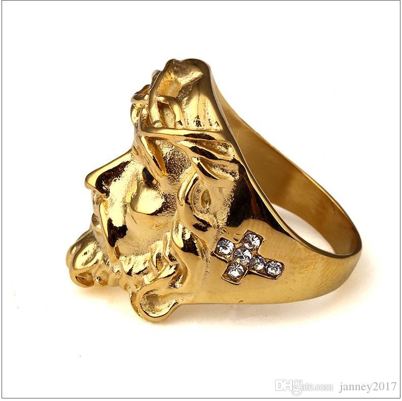 Neue Ankunft heißer Cristo Redentor Jesus Kopf Hip Hop Top Quaility Edelstahl Gold überzogen mit Strass Ring Schmuck Großhandel