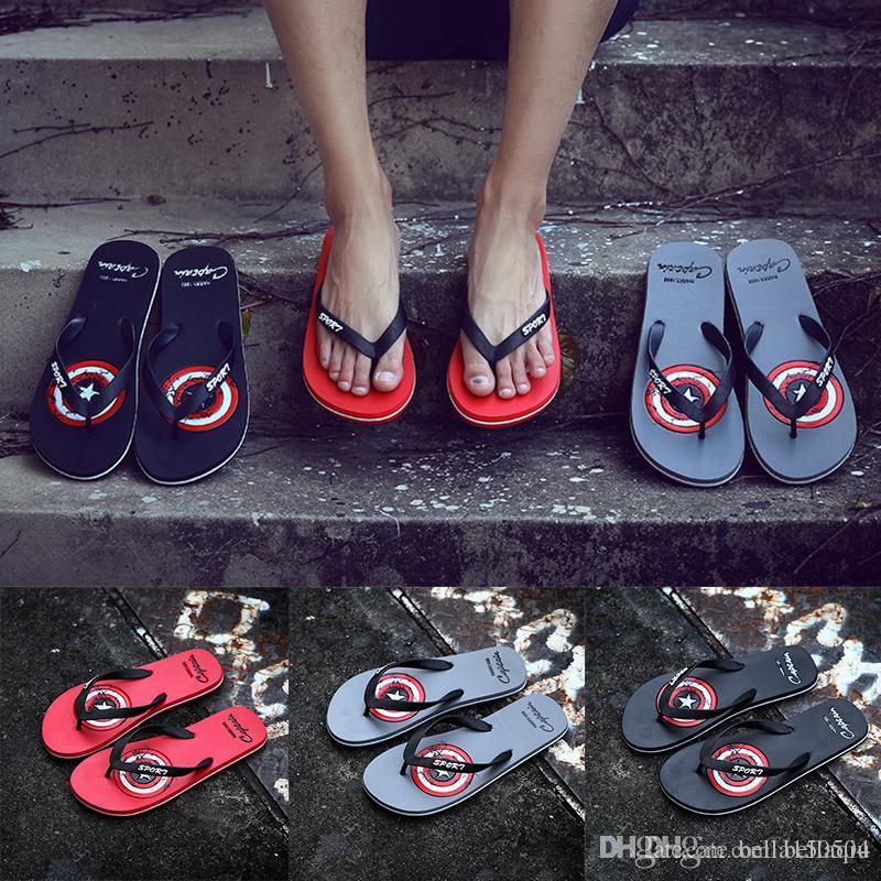 ab41de0a02f0 New Fashion Captain America Designer Flip Flops Designer Slippers Shoes  Sandals For Men Women Slipper Flip Flops Casual Beach Outdoor Womens  Loafers Fashion ...