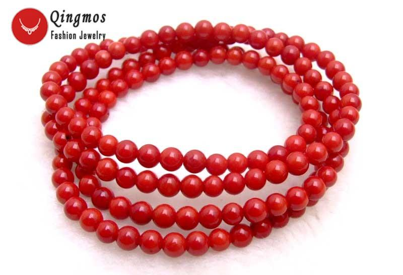 2018 qingmos round natural red coral bracelet for women with 5 6mm
