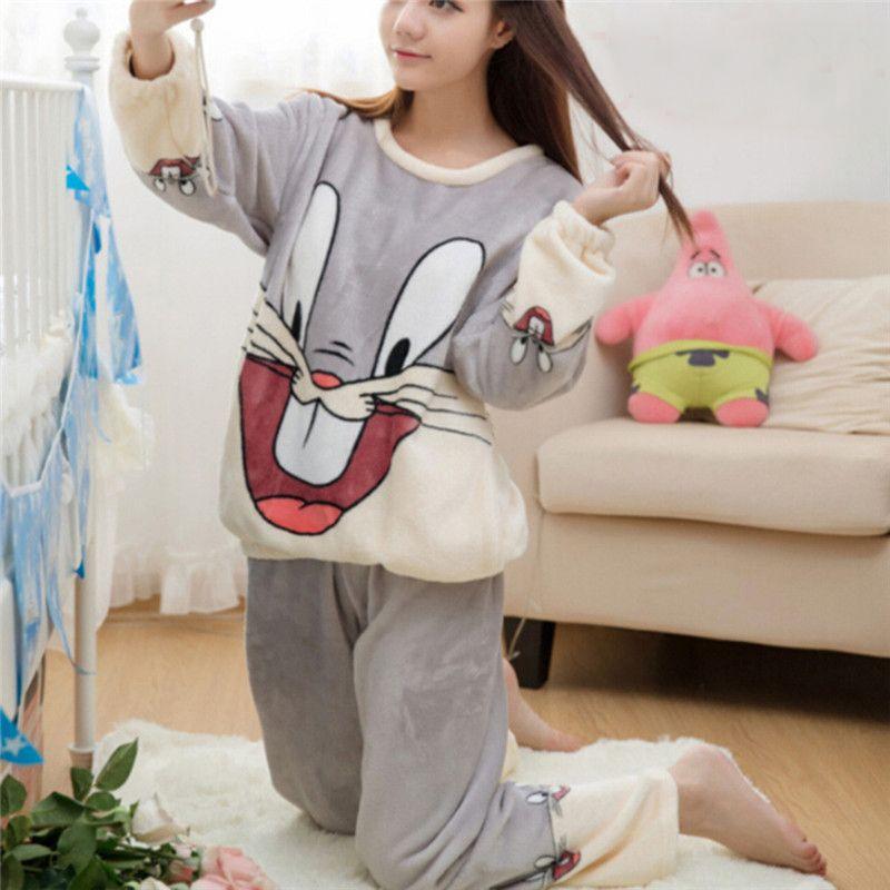 2019 Autumn Winter Women Pajamas Set Cartoon Rabbit Animal Pants Sleepwear  Sleep Jacket Pant Sleepwear Warm Nightgown Female M XXL From Vanilla04 9d002360c