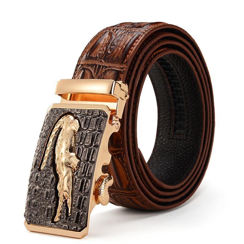 Acheter De Luxe Mens Crocodile Motif En Cuir Véritable Automatique Boucle  De Ceinture Pour Hommes 3D Alligator Tête De Cliquet Ceinture 110cm 125cm  De ... f0870119e13