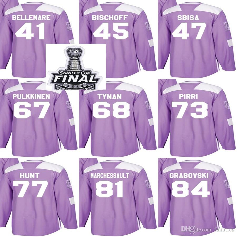 2018 Stanley Cup Final Patch Men Vegas Golden Knights Fights Cancer Purple  Bischoff Sbisa Tynan Pirri Hunt Grabovski Bellemare Hockey Jersey 2018  Stanley ... c02bb490d