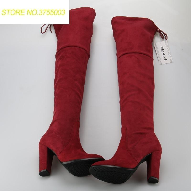 7009f9415568 Spring Hot Faux Suede Leather Women Knee High Boots Super High Chunky Heel  Ladies Lace Up Back Knight Boots Fashion Boots Shoes Ankle Boots For Women  From ...