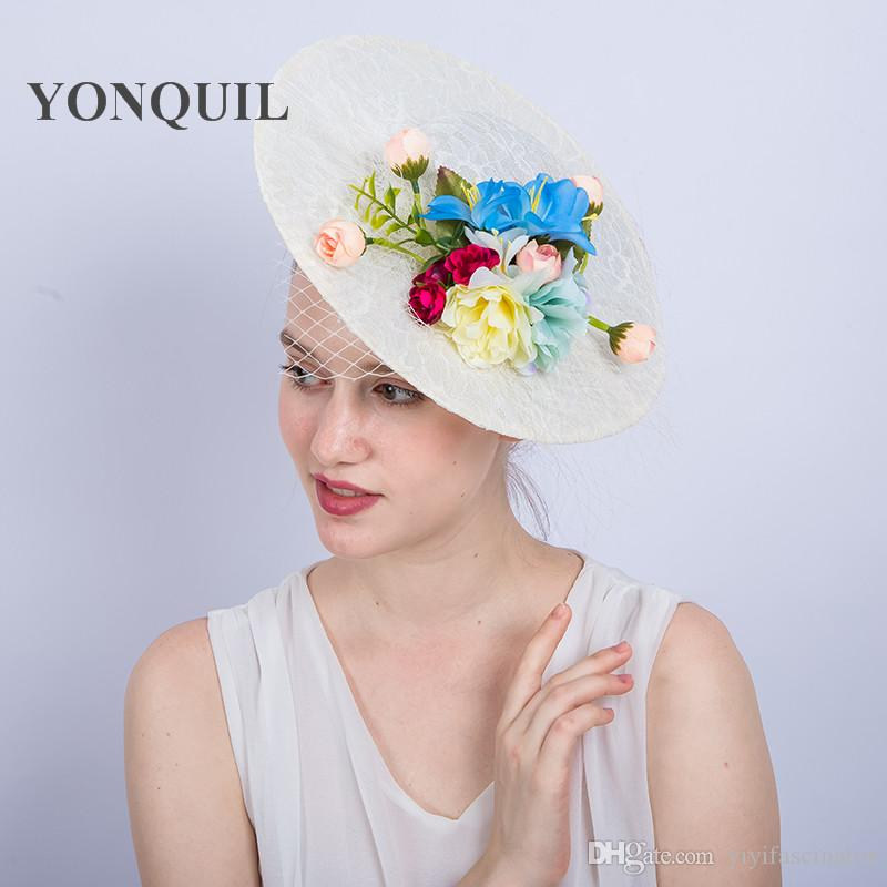 339b966e981d0 30CM Big Size Ivory Imitation Sinamay Fascinator Hat With Silk Flower And  Lace Kentucky Derby Bride Wedding Cocktail Church Hairclips SYF223 Ladies  Formal ...