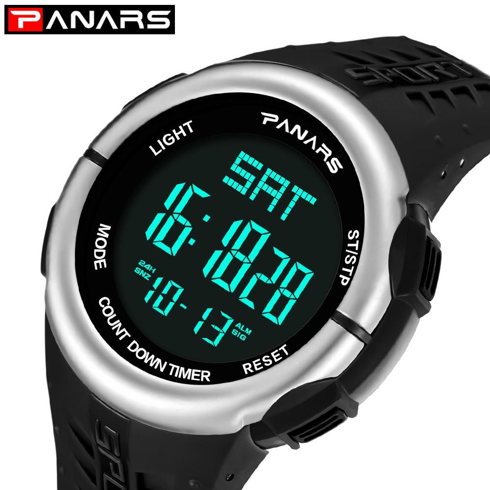 e2d6fb3d546 Compre PANARS 12 24 Horas Dual Time Relógio Digital Homens Japão Bateria  Chronograph Alarm Relógios Homem LDE Esporte Relógio De Pulso Masculino  8002 De ...