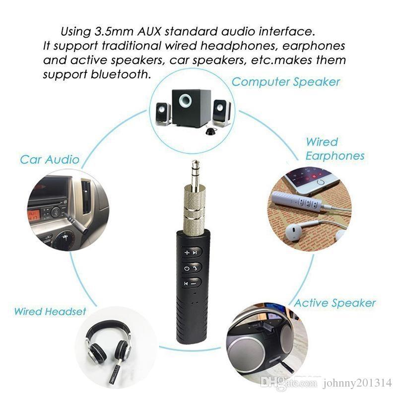 Universal 3.5mm jack Bluetooth Car Kit manos libres de música Adaptador de receptor de audio Auto AUX Kit para Altavoz Auriculares Estéreo Del Coche